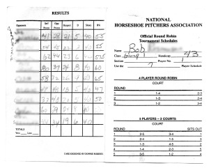 Front and Back of Tournament Scorecard